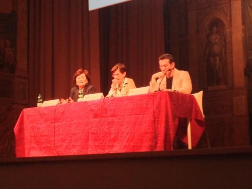 Alberta Campitelli, Giovanna Marinelli e Paolo Ruffini durante la conferenza stampa di oggi