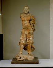 Tankei Bishamonten (Vaiśravana) Periodo Kamakura, XIII secolo Legno dipinto (colore quasi completamente scomparso), altezza 166,5 cm. Sekkeiji, Kochi Importante proprietà culturale