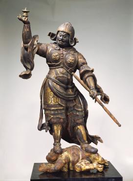 Tamonten (Vaisravana) Periodo Heian, XII secolo Legno dipinto, altezza 157,5 cm. Nara National Museum Importante proprietà culturale