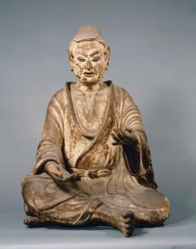 Yuima Koji (Vimalakīrti Nirdeśa) Periodo Nara, VIII secolo Legno dipinto, altezza 91,8 cm Hokkeji, Nara Importante proprietà culturale
