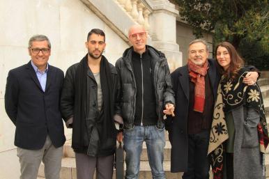 Maurizio Caridi, Massimo Cotto e Mauro Pagani insieme ai vincitori 2015, Mahmood e Miele