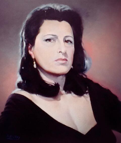 Anna Magnani dipinta da Enzo Nistri - © Cinema a Pennello (https://www.facebook.com/cinemaapennello/home)