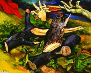 Renato Guttuso Il legno della Croce 1980 Olio su tela Collezione privata