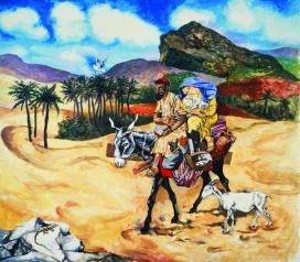 Renato Guttuso Bozzetto per la fuga in Egitto 1983 Acrilico su carta intelata Varese, Fondazione Francesco Pellin