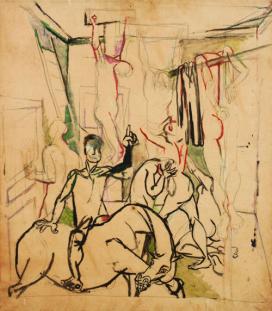 Renato Guttuso Studio per la Crocifissione 1940-41 Tempera e olio su carta intelata Roma, Archivi Guttuso
