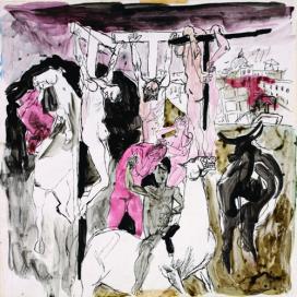 Renato Guttuso Studio per la Crocifissione 1940-1 Inchiostro di china e acquerello su carta Roma, Archivi Guttuso