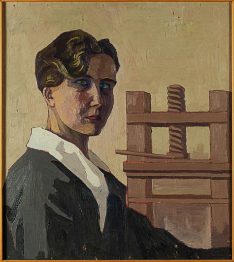 Mimì Quilici Buzzacchi, Autoritratto al torchio, 1926 ca, olio su tavola, Collezione Quilici