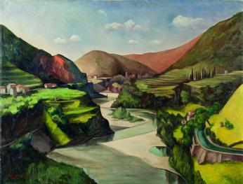 Mimì Quilici Buzzacchi, Grande Val Brembana, 1935, olio su tela, Collezione Quilici