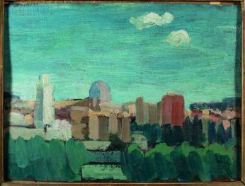 Mimì Quilici Buzzacchi, Luci di Roma, 1948, olio su tavola, Collezione Quilici