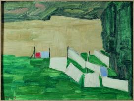 Mimì Quilici Buzzacchi, Bucatino con il Tevere biondo (Panni stesi), 1955, olio su cartone, Collezione Quilici