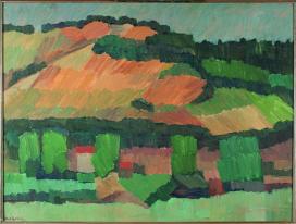 Mimì Quilici Buzzacchi, Sole su Monte Mario (Sole d'agosto), 1957, olio su tavola, Collezione Quilici