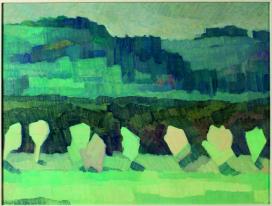 Mimì Quilici Buzzacchi, Sole e pioggia , 1973, olio su tavola, Collezione Quilici