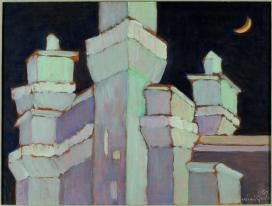 Mimì Quilici Buzzacchi, Castello al neon, 1981, olio su tavola, Collezione Quilici