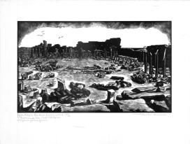 Mimì Quilici Buzzacchi, Leptis Magna-Foro Nuovo Severiano, 1938, xilografia, Collezione Quilici