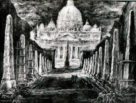 Mimì Quilici Buzzacchi, Gli obelischi, 1950, xilografia su carta vergata, Roma Galleria d'Arte Moderna