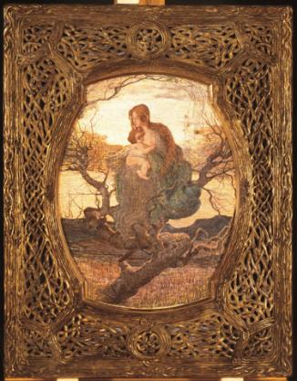 Giovanni Segantini (Arco di Trento 1858 – monte Schafberg, Engadina 1899) L'angelo della vita (Dea cristiana o Dea d'amore) 1894-1895 Olio e gouache su carta, mm 595x480 Budapest, Szépművészeti Múzeum