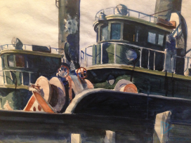 Edward Hopper (1882 1967) Two Trawlers (Due pescherecci)1923-1924 Acquerello e grafite su carta, foglio 35,2x50,6 cmNew York, Whitney Museum of American Art; Lascito di Josephine N. Hopper© Heirs of Josephine N. Hopper, Licensed by Whitney Museum of American Art (particolare)