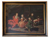 Pittore romano del XVIII secolo Ritratto di quattro bambini della famiglia di Carpegna Gabrielli, III quarto del XVIII secolo Olio su tela, 167x217 cm. Collezione privata ©
