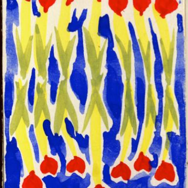 Orfeo Tamburi, Sette di cuori acquerello su cartone