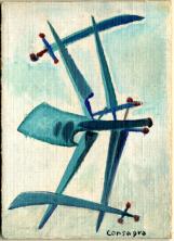 Pietro Consagra, Sette di spade olio su cartone telato