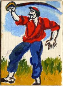 Renato Guttuso, Fante di spade olio su cartone telato