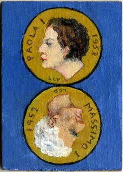 Leonetta CecchiPieraccini, Carta dei tarocchi, arcano minore, Due di denari olio su cartone telato