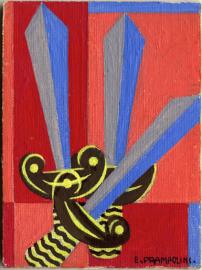Enrico Prampolini, Carta dei tarocchi, arcano minore, Tre di spade tempera