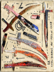 DorazioPiero, Carta dei tarocchi, arcano minore, Sette di spade tecnica mista