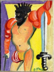 Ugo Attardi, Carta dei tarocchi, arcano minore, Re di spade tempera