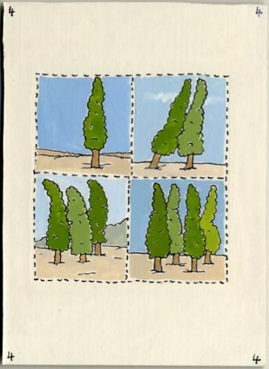 Pablo Echaurren, Carta dei tarocchi, arcano minore, Quattro di bastoni smalto/china