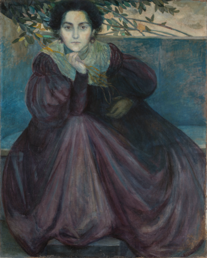 Giovanni Prini Ritratto della fidanzata Orazia Belsito, 1899 olio su tela cm. 100x80 Collezione privata, Roma