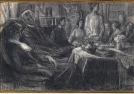 Domenico Baccarini I ricevimenti in casa Prini, 1904 disegno a contè chiaroscurato a carboncino cm 200x300 Pinacoteca Comunale, Faenza