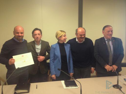 Da sinistra: il vice sindaco di Amatrice Gianluca Carloni; Rocco Corsetti; l'On. Dorina Bianchi; Oscar Farinetti; Fiorello Primi
