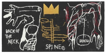 BASQUIAT, JEAN-MICHEL 2772 B356 Back of the Neck 1983 Five-color silkscreen with hand coloring on paper 50.25 x 101.75 in. ©