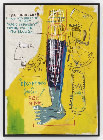 Basquiat, Jean-Michel Early Moses 1983 Acrylic and oil on canvas cm 198,1 x 141 © Christopher Burke
