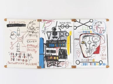 BASQUIAT, JEAN-MICHEL 2014 B272 Five Fish Species 1983 Acrylic and oil stick on canvas mounted on wood supports - three panels 66.875 x 140.5 in. overall ©