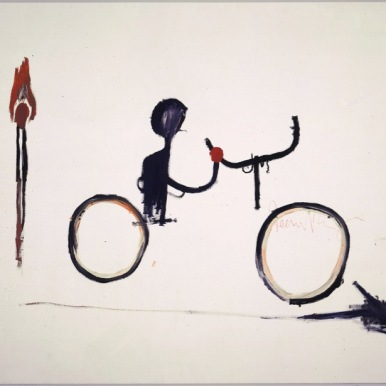BASQUIAT, JEAN-MICHEL 0190 B61 Untitled (Bicyclist) circa 1984 Acrylic and oilstick on canvas 80 x 106 in. ©