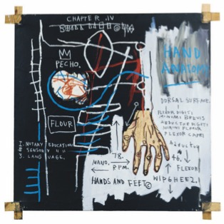 BASQUIAT, JEAN-MICHEL 0481 B152 Untitled (Hand Anatomy) 1982 Acrylic, oil, oilstick and paper collage on canvas with tied wood supports 60 x 60 in. ©