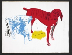 BASQUIAT AND ANDY WARHOL, JEAN-MICHEL 2362 B343 / W1003 Untitled (Two Dogs) 1984 Acrylic and silkscreen ink on canvas 80 x 106 in. ©