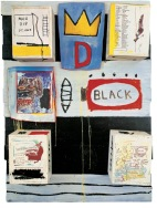 JEAN-MICHEL BASQUIAT Black 1986 Acrylic, oilstick, xerox collage and wood collage on panel 50 x 36.5 x 8.5 in. ©