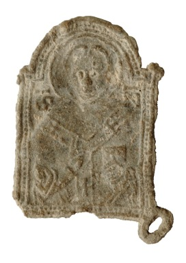 Insegna di pellegrinaggio con San Nicola da Bari. XIII-XIV secolo, (dal Convento di Sant'Urbano ai Pantani)
