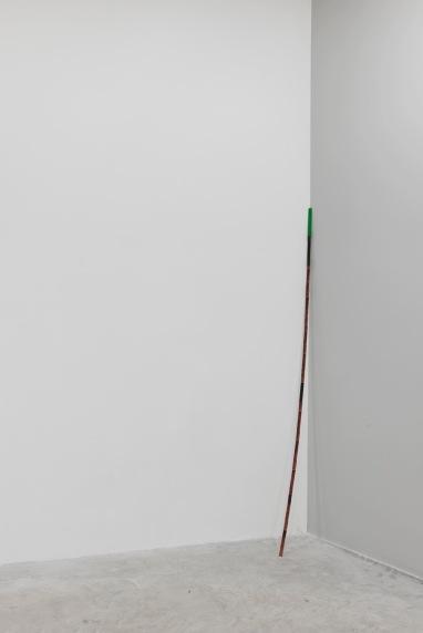 Sreshta Rit Premnath, Here, 2017. Estratto di rosa, limatura di ferro e pigmento verde su metro pieghevole, 1x180 cm. Installation view, Nomas Foundation, Roma. Courtesy dell'artista. Ph. Marco Passaro