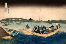 Katsushika Hokusai Veduta del tramonto presso il ponte Ryogoku dalla sponda del pontile di Onmaya, dalla serie Trentasei vedute del monte Fuji, 1830-1832 Silografia policroma, (…) Kawasaki Isago no Sato Museum