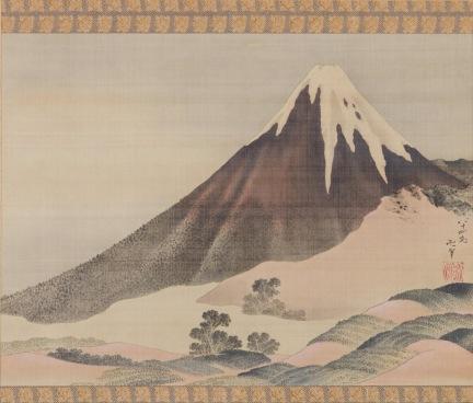 Katsushika Hokusai Il Monte Fuji al tramonto, 1843 Dipinto su rotolo, Sumisho Art Gallery