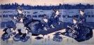 Keisai Eisen Cortigiane e loro assistenti presso un accampamento temporaneo, 1836 Silografia policroma, trittico, 38.7×26.2 cm; 38.8×26.5 cm; 38.7×25.8 Chiba City Museum of Art