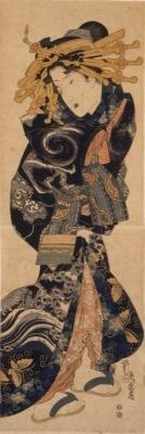 Keisai Eisen Cortigiana che indossa un abito con disegni di nuvole e dragoni, 1818-1830 circa Silografia policroma, 72.7x24.9 cmChiba City Museum of Art