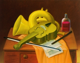 Fernando Botero Natura morta con strumenti musicali, 2004 Olio su tela; 103x131 cm