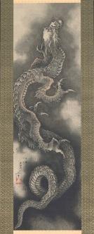 Katsushika Hokusai Dragone rampante, 1846 Dipinto su rotolo, 112.6×33.5cm (192.0 × 52.0 cm dimensioni totali) Sumisho Art Gallery
