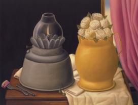 Fernando Botero Natura morta con lampada e fiori, 1997 Olio su tela; 96 x 121 cm