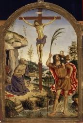 Bernardino di Betto, detto Pintoricchio (Perugia c. 1454 – Siena 1513) Crocifisso tra i Santi Girolamo e Cristoforo, c. 1477 olio su tavola, cm 59 x 44 Roma, Galleria Borghese, inv. 377